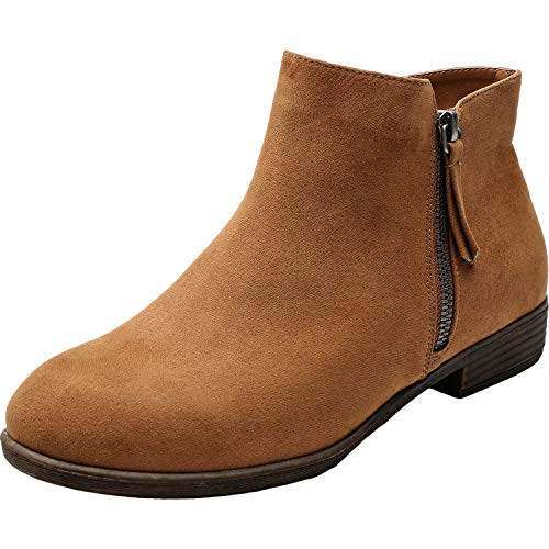 (Luoika Women's Wide Width Ankle Booties - Low Flat Heel Side Zipper Round Toe Suede Comfy Boots.(180906,Brown,9))