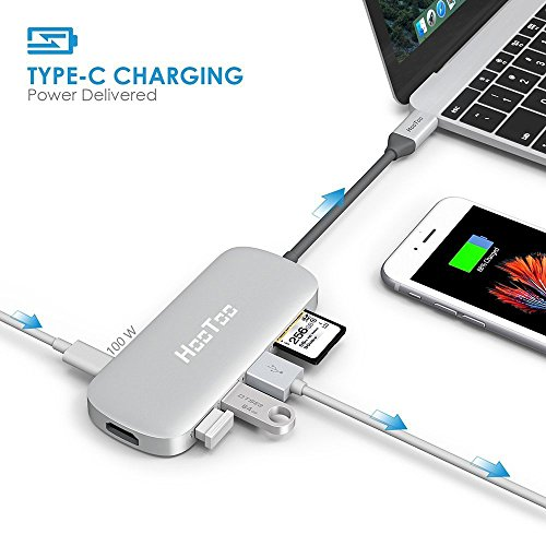 USB C Hub, HooToo USB C Adapter with 100W Type C Power Delivery, HDMI Output, Card Reader, 3 USB 3.0 Ports for 2016/2017 MacBook Pro and Windows Type C laptop - Silver by HooToo (Image #2)