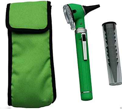 Otoscope - Compact Pocket Size Fiber ENT Optic Otoscope Green Color