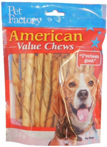 PET FACTORY American Beef-Hide Chicken Flavored Twist Sticks, 5-Inch 25-Count - Pack of 2