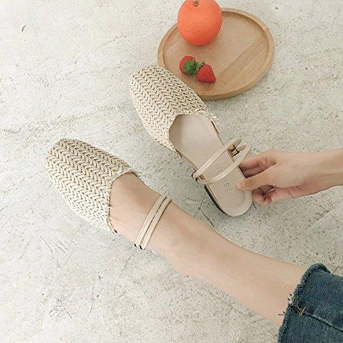 Plates Chaussures Bas Sandales Xing Grass Élastique Tressés Pour Rattan black 35 Summer Guang New 37 Femmes Beige 55zx7wP