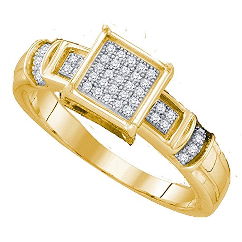 Sonia Jewels Size 7-10K Yellow Gold Round Diamond Engagement Ring - Micro Pave Square Princess Center Setting Shape (1/8 cttw.) ()
