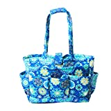 Floral Quilted Cotton Needle Bag Knitting Bag Yarn Storage Tote (Blue Sky)