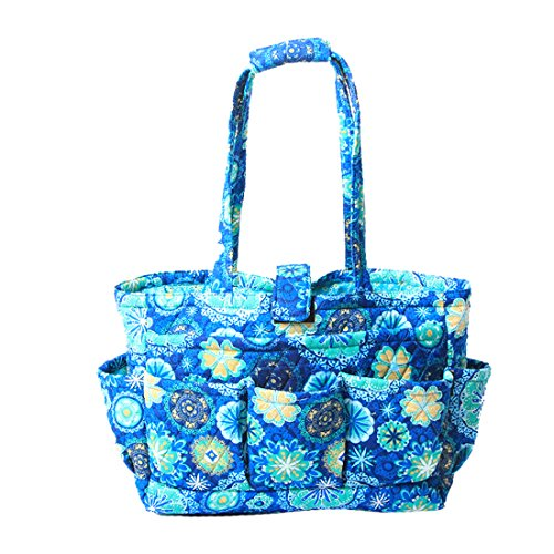 Floral Quilted Cotton Needle Bag Knitting Bag Yarn Storage Tote (Blue ()