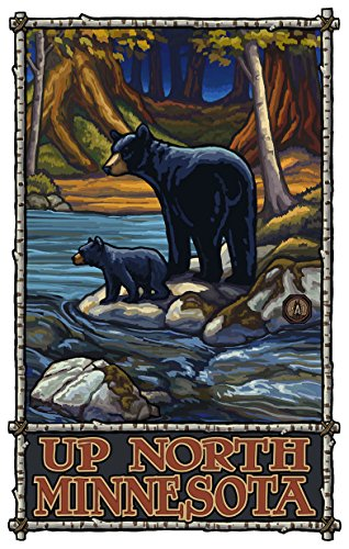 Up North Minnesota Bears in Stream Travel Art Print Poster by Paul A. Lanquist (12