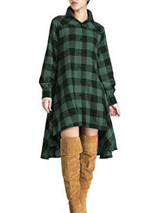 b38be165cdc4 OLRAIN Womens New Plaids Irregular Hem Casual Shirt Dress at Amazon ...