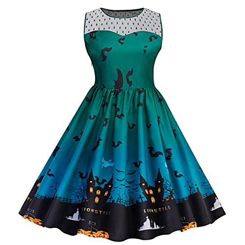 Pinup Halloween (Womens Classic Halloween Print Lace Panel Dress Retro Rockabilly A Line Dresses)