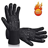Karrong Grilling Gloves Heat Resistant Oven Gloves, BBQ Gloves Heat Resistant Up to 500 ℃ / 932 ℉ with EN407 Certified for BBQ, Grill, Cooking, Baking, Welding, Black (1 Pair)