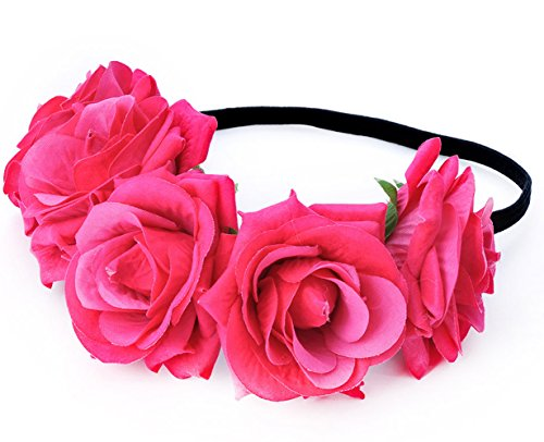 Maternity Photo Shoot Halloween Decoration Rose Flower Crown Garland Wreath Headband for Festival Wedding (Fuchsia) (Dead Prom Queen Halloween Costume)