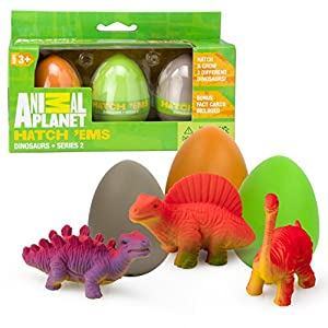 Animal Planet Grow Eggs- Dinosaur- Hatch and Grow Three Different Super-Sized Animals (Series 2) - 5132IWli7yL - Animal Planet Super Grow Dinosaur Eggs 3 Pack – Dino Egg Toys Hatch and Grow to 3x Size in Water – Brachiosaurus, Spinosaurus, & Stegosaurus w Educational Fact Cards