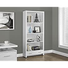 """Monarch Specialties I 7086 White Hollow-Core Bookcase with A Drawer, 71"""""""