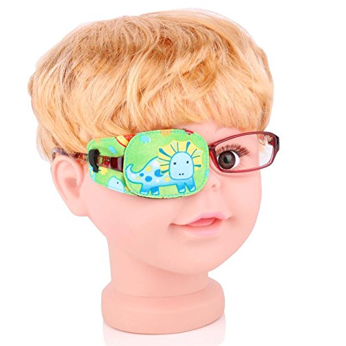 Plinrise Cartoon Pure Cotton Reusable Eye Patches - Amblyopia Eye Patches For Glasses, Strabismus, Lazy Eye Patch For Children,Vision Care Eye Mask ,Cartoon Green Right
