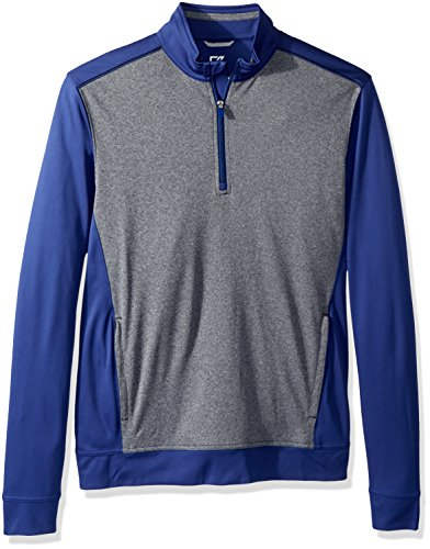 c8f38b556b0 Cutter & Buck Men's Drytec 50+ UPF Replay Colorblock Zip Pullover with  Pockets, Tour