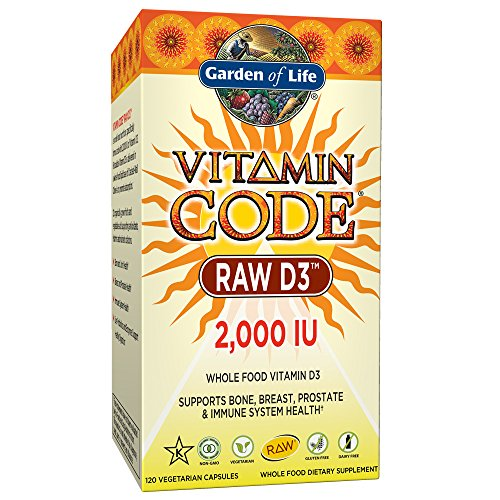 Garden of Life D3 - Vitamin Code Whole Food Raw D3 Vitamin Supplement, 2000 IU, Dairy and Gluten Free, Vegetarian, 120 Capsules