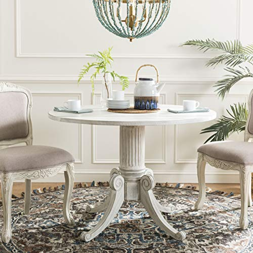 Safavieh DTB1000A Home Collection Forest Drop Leaf Dining Table Antique White (Table Small Leaf Antique Drop)
