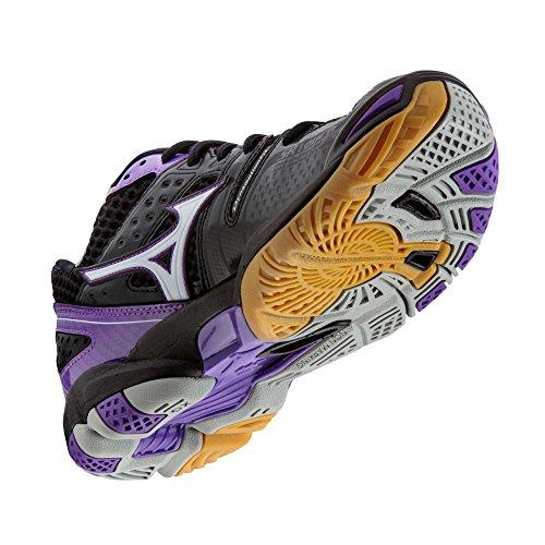 Zapatos De Voleibol Mizuno Wave Tornado 9 Para Mujer - Negro Y Morado