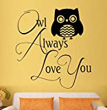 interesting bedroom wall decals LSFHB Owl Love Family Bedroom Nursery Cute and Interesting Wall Art Stickers Decals Vinyl Home Room Decor 52X53Cm