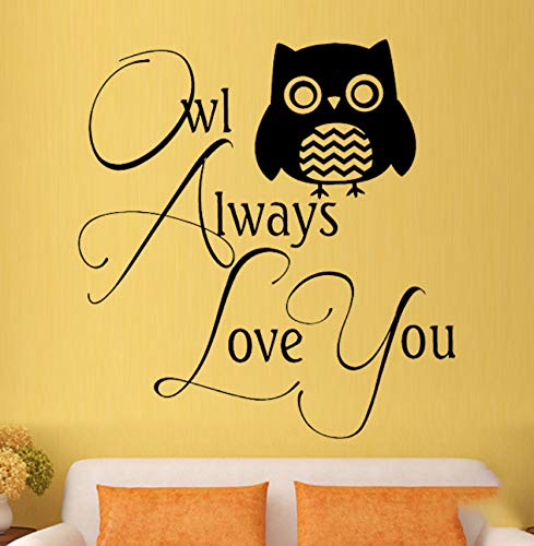 LSFHB Owl Love Family Bedroom Nursery Cute and Interesting Wall Art Stickers Decals Vinyl Home Room Decor 52X53Cm