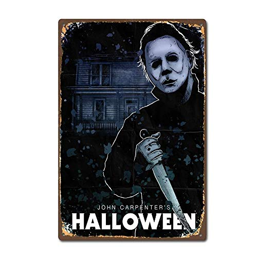 OVCC Metal tin Sign 7.8inch11.8inches Michael Myers Halloween Horror Film Movie Vintage Retro Tin Sign]()