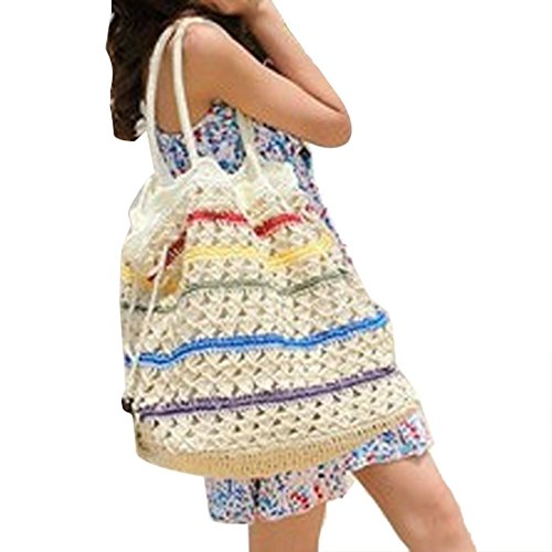 Totes De De Mujeres Bolsos Blanco Un De QIYUN Hombro Moda De Playa Cubo Punto Z Paja Rayas Solo fqwxAgBH