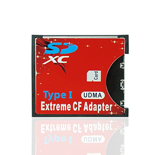Adventurers Extreme Single Flash SD SDHC SDXC to Standard CF Wireless card Adapter Compact Flash Type I CF MemoryCard Adapter High Speed for Nikon Cannon Camera (SD-CF Adapter) by Adventurers
