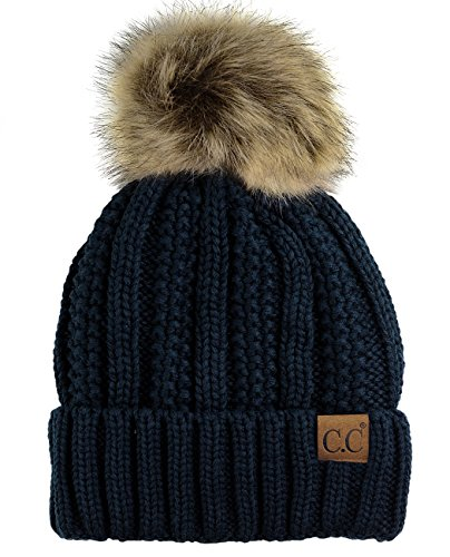 (C.C Thick Cable Knit Faux Fuzzy Fur Pom Fleece Lined Skull Cap Cuff Beanie, Navy)