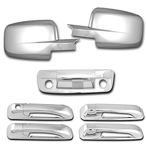 - AutoModZone Chrome ABS 4 Door Handle without PSG Keyhole + Tailgate Cover with Keyhole & Camera Hole + Full Mirror Cover Combo for 09-17 Dodge RAM