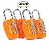 TSA Approved Travel Luggage Locks 4 Dial Digit Combination for Suitcases 4 Pack