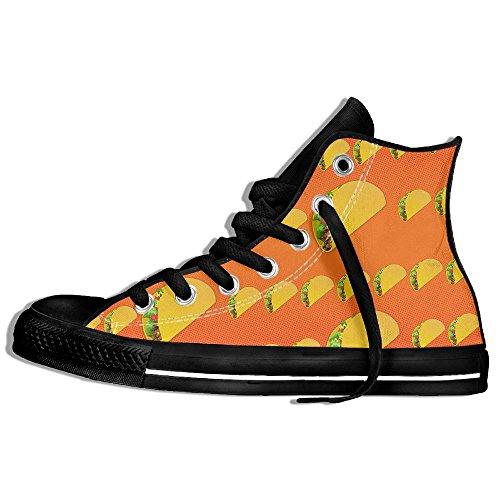 Classiche Sneakers Alte Scarpe Di Tela Antiscivolo Modello Taco Casual Da Passeggio Per Uomo Donna Nero
