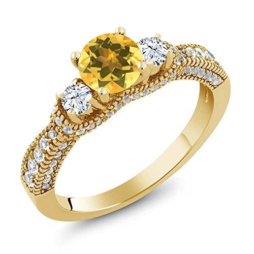 Gem Stone King 1.72 Ct Round Yellow Citrine White Topaz 18K Yellow Gold Plated Silver Ring (Size 6)