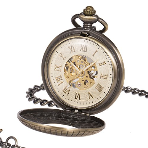 ManChDa Mens imitative wood Luminous Skeleton Mechanical Roman Numerals Pocket Watch With Chain Gift by ManChDa (Image #1)'