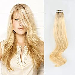 Dark Roots Blonde Remy Tape in Hair Extensions - AmazingBeauty Invisible Pre Taped Double Sided Real Human Hair Skin Weft, 20 Pieces, 50 Grams, Beach Blonde with Bronde Base Color R10-613, 20 Inch