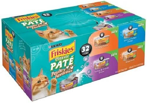 Purina Friskies Wet Cat Food, Classic Pate Poultry Favorites Variety Pack, 5.5 oz Cans, Pack of 32… Give Your Precious Pet a Nice Treat