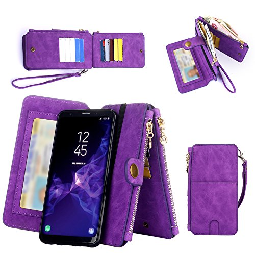Samsung Galaxy S9 Plus Wallet Case, Improved 12 Card Holder, Dual Zipper Cash Change Slot, PU Leather Cover with Detachable Magnetic Case - Purple