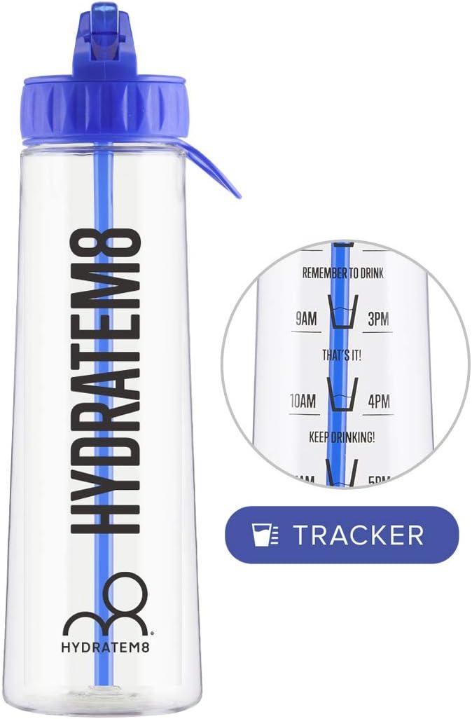 en tritan Durable 900 ML HYDRATEM8 Bouteille deau avec Indication du Temps de Motivation avec marqueur de Temps sans BPA Pas de Fuite