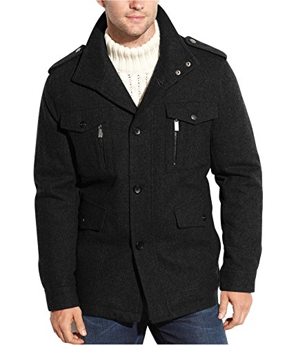 Michael Kors Mens Wool Blend Pea Coat Black (Michael Kors Black Wool)