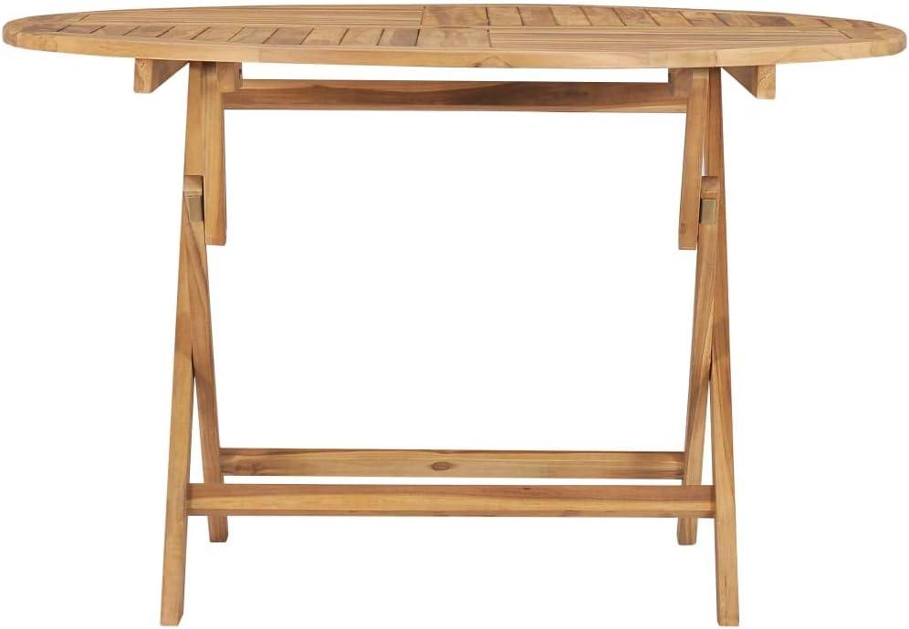 vidaXL Bois de Teck Solide Table Pliable de Jardin Table de Bistro Table de Salle /à Manger D/îner Patio Terrasse Ext/érieur Arri/ère-Cour /Ø 60 cm