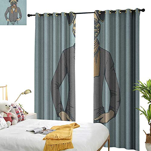longbuyer Pug Decorative Curtains for Living Room Abstract Image of a Dog with Human Proportions with Jacket Scarf and Jeans Absurd W96 x L84,Suitable for Bedroom Living Room Study, etc.