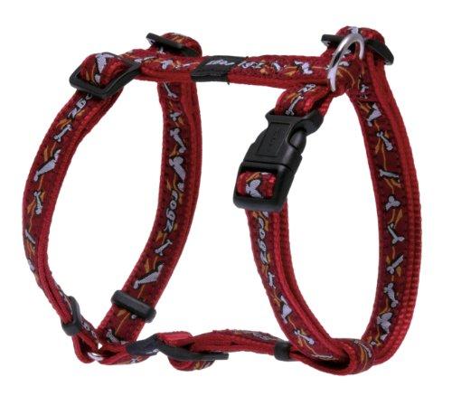 "Rogz Fancy Dress Medium 5/8"" Scooter Adjustable Fashion Dog H-Harness, Bones on Red Design"