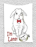 Ambesonne Alice in Wonderland Decorations Collection, Funny Rabbit with Watches Cartoon Alice Decor Character Fantasy, Bedroom Living Room Dorm Wall Hanging Tapestry, White Red