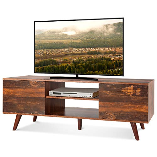 WLIVE Mid-Century Modern TV Stand for 55″ TV, TV Console, Retro Entertainment Center in Living Room, Entertainment Room, Office, Rustic O9 Oak