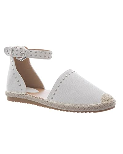 6aa91989937 shelikes Womens Flat Studded Ankle Strap Espadrilles Ladies Sandals Summer  Shoes