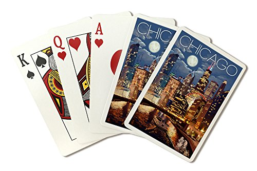 - Chicago, Illinois - Skyline at Night (Playing Card Deck - 52 Card Poker Size with Jokers)