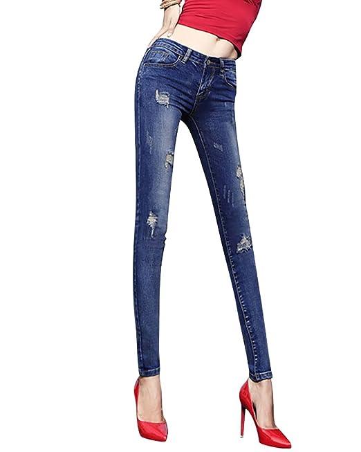 6ca64b853f Jeans Clásico Vaquero de Mujer Slim Fit Casual Pantalones en Denim   Amazon.es  Ropa y accesorios