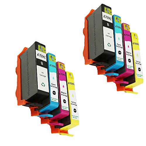 Ink Cartridges Compatible Replacement for HP 670 XL for Deskjet Ink Advantage 3525 4615 4620 4625 5525 6526 Printer ()