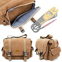 Tan Brown Large Canvas Bag for Fluke T5-1000 Electrical Tester and Fluke T5-600 Electrical Tester -by DURAGADGET