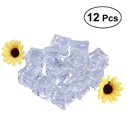 12 Pcs Fake Ice Cubes Acrylic Crystals Ice Block for Display Decoration Photo Props 2.5cm ()