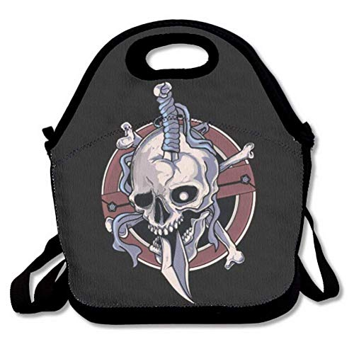 LPoxsmovw Halloween Party Cool Funny Skull Skeletons Lunch Bags Insulated Handbag Lunchbox Tote Cooler Warm Pouch With Shoulder Strap For Women Teens Girls Kids Adults Handbag for School Office -