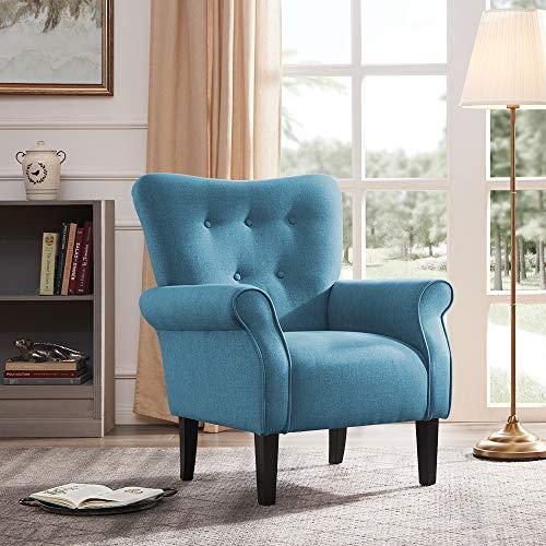 Belleze Modern Accent Chair Roll Arm Linen Living Room Bedroom Wood Leg, Blue (Best Living Room Chair For Back Pain)