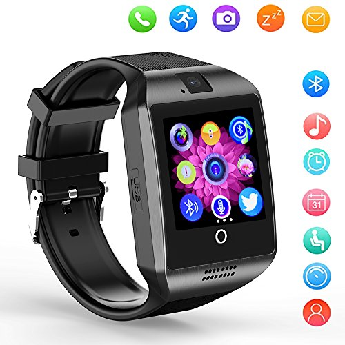 Smart Watch Bluetooth Q18 Touchscreen Wrist Watches SHFY with Camera Compatible with Android Phones for Men Women (Black)
